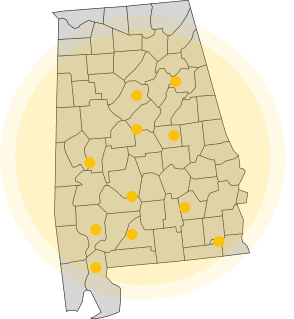 An image of Alabama with dots where Thompson Marine has locations