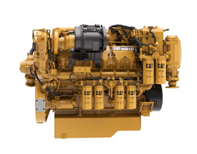 Sideview of a high performance CAT marine engine